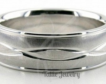 Mens White Gold Wedding Bands, Brushed Finish Mens Wedding Rings, 7mm 10K 14K 18K White Gold Mens Wedding Bands