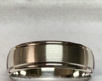 Platinum Wedding Band,  Platinum Wedding Ring , 6mm Satin Finish 950 Platinum Mens Wedding Bands, Mens Wedding Rings