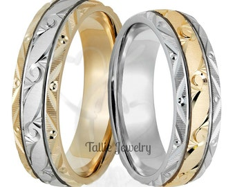 His & Hers Wedding Bands,  Matching Wedding Rings Set, 6mm 10K 14K 18K White and Yellow Gold Hand Engraved Wedding Bands