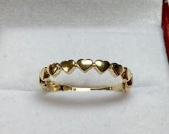 14K Solid Yellow Gold Heart Ring,  Minimalist  Heart Ring,  Dainty Heart Ring , Gold Wedding Band, Promise Ring