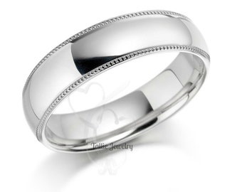 Mens White Gold Wedding Band, Dome Plain Mens Wedding Ring, His & Hers Wedding Bands, Milgrain Comfort Fit Mens Ring