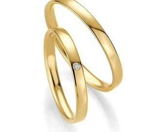 His & Hers Wedding Bands, Matching Wedding Rings Set , 2mm 10K 14K 18K Solid Yellow Gold Wedding Bands, Thin  Diamond Wedding Rings Set