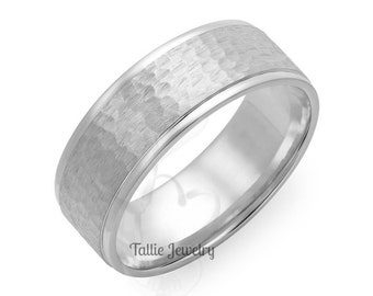 8mm 10K 14K 18K Solid White Gold Mens Wedding Bands, Hammered Finish Mens Wedding Rings, His & Hers Wedding Bands, Matching Wedding Rings
