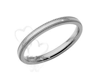 14K White Gold Wedding Band, 2mm Thin Wedding Ring, Simple Dome Milgrain Wedding Band, His & Hers Wedding Rings