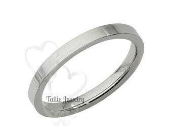 Platinum Thin Wedding Band, 2mm Platinum Wedding Ring, Comfort Fit Shiny Finish Plain Flat Platinum Mens Womens Wedding Bands