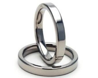 Platinum Wedding Bands, His & Hers Wedding Rings, Matching Wedding Bands,Shiny Finish Flat 2mm Thin Platinum Wedding Rings,950 Platinum Ring