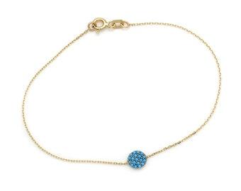 14k Gold Turquoise Bracelet, Beaded Circle Turquoise Bracelet, 14K  Yellow Gold Round Disk Bracelet, 14K Gold Turquoise Bracelet,  Bracelet
