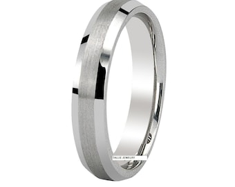Mens Platinum Wedding Bands , Platinum Mens Wedding Rings , 4mm Satin Finish Beveled Edge Platinum Mens Womens Wedding Bands