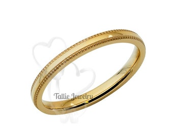 14K Yellow Gold Wedding Band, 2mm Mens Womens Thin Wedding Ring, Simple Dome Milgrain Wedding Band