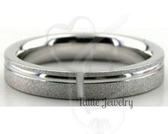950 Platinum Band , Platinum Mens Womens Wedding Ring , 4mm  Stone Finish Platinum Mens Wedding Ring ,Platinum Mens Wedding Band
