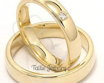 His & Hers Wedding Bands, Matching Wedding Rings, Diamond Wedding Bands, 10K 14K 18K Solid Yellow Gold Mens and Womens Wedding Rings