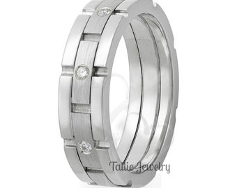 Platinum Diamond Wedding Ring, for Men and Womens , Platinum Wedding Bands , His & Hers Wedding Rings