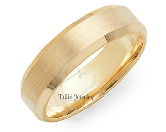 Custom Made for Elena, 6mm 18K Solid Gold Mens Wedding Band