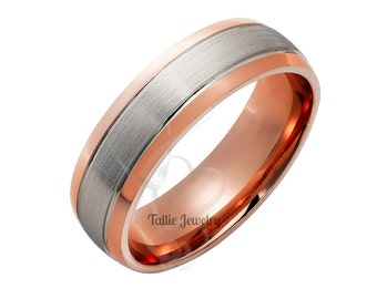 Two Tone Gold Wedding Bands, 6mm 14K Solid White and Rose Gold Mens Wedding Band, Satin Finish Mens Wedding Ring,  Two Tone  Wedding Bands