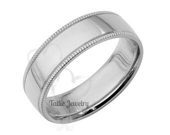 6mm 10K 14K 18K Solid White Gold Mens Wedding Band, Dome Milgrain Mens Wedding Ring,  Polished Comfort Fit Mens Wedding Bands