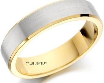 Platinum Mens Wedding Bands,  Platinum Mens Wedding Rings , Two Tone Gold Wedding Bands, 950 Platinum & 18K Solid Yellow Gold Wedding Band