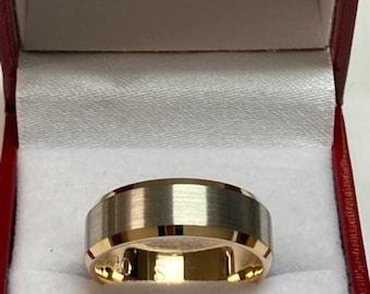 Platinum Mens Wedding Band, Platinum Mens Wedding Ring, 18K Solid Yellow Gold and Platinum Wedding Band, 7mm Beveled Edge Satin Finish