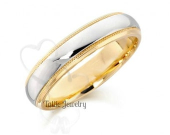 Two Tone Wedding Bands, 5mm 10K 14K 18K Solid White and Yellow Gold Shiny Finish Mens and Womens Wedding Rings, Two Tone Gold Wedding Bands