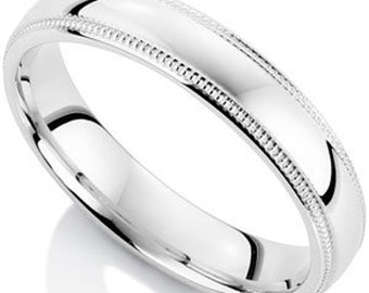 Mens White Gold Wedding Bands, Dome Milgrain Mens Womens Wedding Ring, 4mm 10K 14K 18K Solid Yellow Gold Mens Wedding Rings