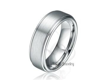 White Gold Wedding Mens Wedding Ring, Satin Finish Mens Wedding Band, 7mm 10K 14K 18K Solid Gold Wedding Rings