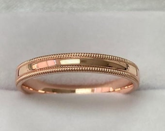 14K Solid Rose Gold Wedding Bands, Mens Womens Plain Wedding Rings 3mm Dome Milgrain Wedding Bands, Rings for Men, Rings for Women