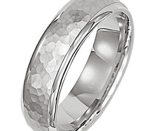 Platinum Wedding Band, Platinum Wedding Ring , Hammered Finish Platinum Mens Wedding Bands