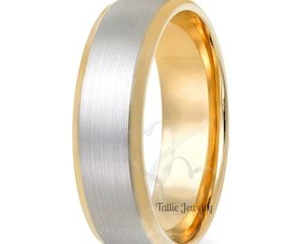 Platinum Mens Wedding Band, Platinum Mens Wedding Ring ,  Platinum & 18K Yellow Gold Satin Finish Beveled Edge Mens Wedding Bands