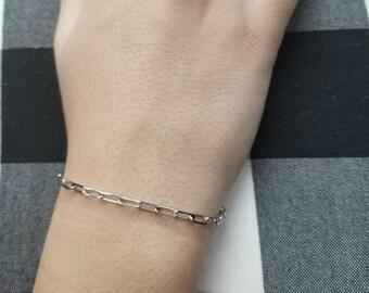 Paper Clip Bracelet, 14K Solid White Gold Paper Clip Bracelet, Paper Clip Link Bracelet, 3mm Paper Clip Bracelet, Elongated Link Bracelet
