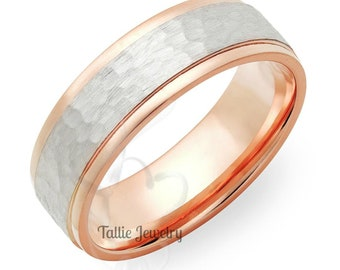Two Tone Gold Wedding Bands, 7mm 14K White and Rose Gold Hammered Finish Mens Wedding Rings,Matching Wedding Bands,His & Hers Wedding Rings