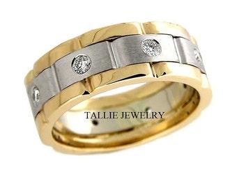 Platinum & 18K Yellow Gold Mens Wedding Bands, Platinum Diamond Mens Wedding Rings, Two Tone Gold Wedding Bands