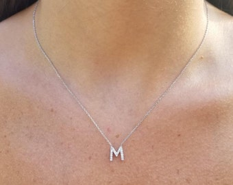 Diamond Initial Necklace/14K Gold Initial Necklace/Diamond Letter Necklace/ Dainty Initial Necklace/Letter M Initial, All Letters Available