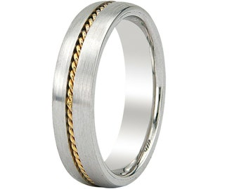 Two Tone Gold Wedding Bands, Rope Braided Mens Wedding Ring, 6mm 14K White and Yellow Gold Mens Wedding Band, Two Tone Gold Wedding Rings