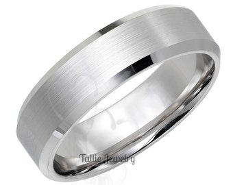 Mens White Gold Wedding Bands, His & Hers Wedding Rings, 6mm 10K 14K 18K Solid Gold Wedding Bands, Beveled Edge Mens Wedding Bands