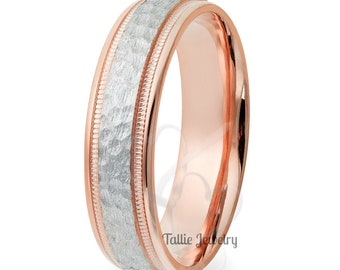 950 Platinum Band, Platinum Mens Wedding Ring ,Platinum & Solid 14K Rose Gold Hammered Finish Mens Wedding Ring, Two Tone Gold Wedding Bands