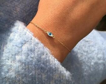 Evil Eye Bracelet, 14K Solid Yellow Gold Evil Eye Bracelet, Dainty Evil Eye Bracelet, White and Blue Evil Eye Protection Bracelet, 14K Solid