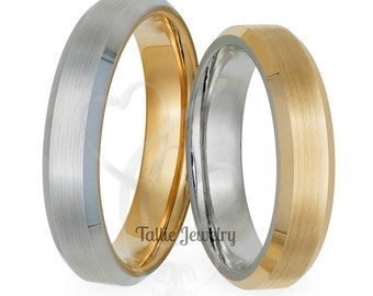 Two Tone Gold Wedding Bands, 14K Solid White and Yellow Gold Beveled Edge Satin Finish Mens Womens Wedding Rings, His & Hers Wedding Bands