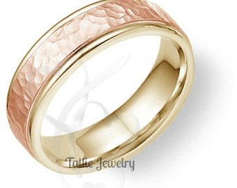 Two Tone Gold Wedding Bands, 6mm 14K Yellow and Rose Gold  Mens Wedding Ring, Hammered Finish Mens Wedding Band, Two Tone Gold Wedding Rings