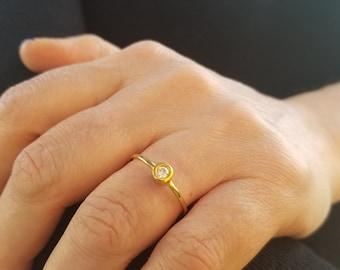 14K Gold Solitaire Diamond Ring / Diamond Ring / Stacking Diamond Ring / Promise Ring  / Diamond Engagement Rings / Minimalist Diamond Ring