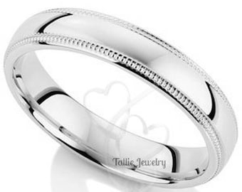 4mm 14K White Gold Wedding Bands, Milgrain Shiny Finish Mens and Womens Wedding Ring, Matching Wedding Bands, His & Hers Wedding Rings