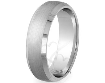 Mens Platinum Wedding Band,  7mm Beveled Edge Satin Finish Platinum Wedding Ring