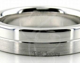 950 Platinum Wedding Band,  Platinum Wedding Ring , 6mm Satin and Shiny Finish Platinum Mens Wedding Bands,  Platinum Mens Wedding Rings