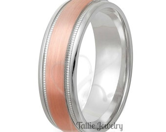 Two Tone Gold Wedding Bands, 7mm,10K,14K White and Rose Gold Mens Wedding Rings, Two Tone Gold Mens Wedding Bands, Mens Wedding Rings