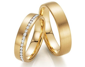 Diamond Eternity Wedding Bands, Diamond Eternity Rings, His & Hers Wedding Bands , 10K 14K 18K Solid Yellow Gold Wedding Rings Set