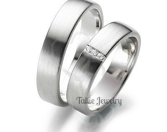 Platinum Matching Wedding Rings, His and Hers Wedding Bands,Platinum Diamond Wedding Rings Set,Platinum Wedding Bands,Platinum Wedding Rings