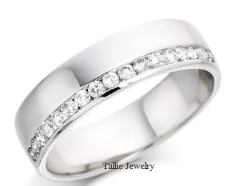 Platinum Diamond Eternity Wedding Bands, Platinum  Diamond Wedding Rings,  Womens  Diamond Wedding Rings, Half Diamond Eternity Ring