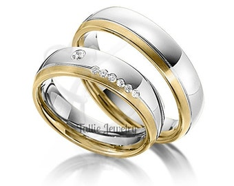 His & Hers Wedding Rings,  14K Two Tone Gold Diamond Wedding Bands, Matching Wedding Rings Set, His and Hers Wedding Bands