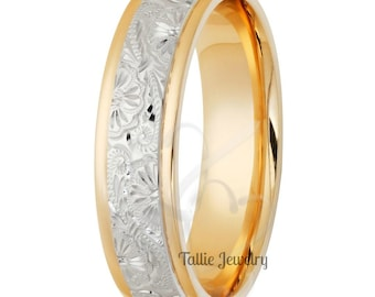 6mm 10K 14K 18K Solid White and Yellow Gold Wedding Ring for Men & Women, Two Tone Gold Mens Wedding Band, Hand Engraved Mens Wedding Ring