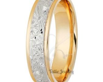Hand Engraved Gold Wedding Bands,Hand Engraved Gold Wedding Rings,Two Tone Gold Wedding Bands,6mm 10K 14K 18K Yellow Gold Mens Wedding Rings