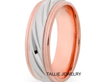 Two Tone Gold Wedding Bands, 7mm 14K Solid White and Rose Gold Mens Wedding Rings, Matching Wedding Bands, His & Hers Wedding Rings
