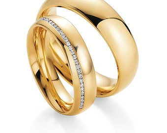 His & Hers Wedding Bands, Matching Wedding Rings Set , 10K 14K 18K Solid Yellow Gold Diamond Wedding Bands, Diamond Eternity Wedding Ring